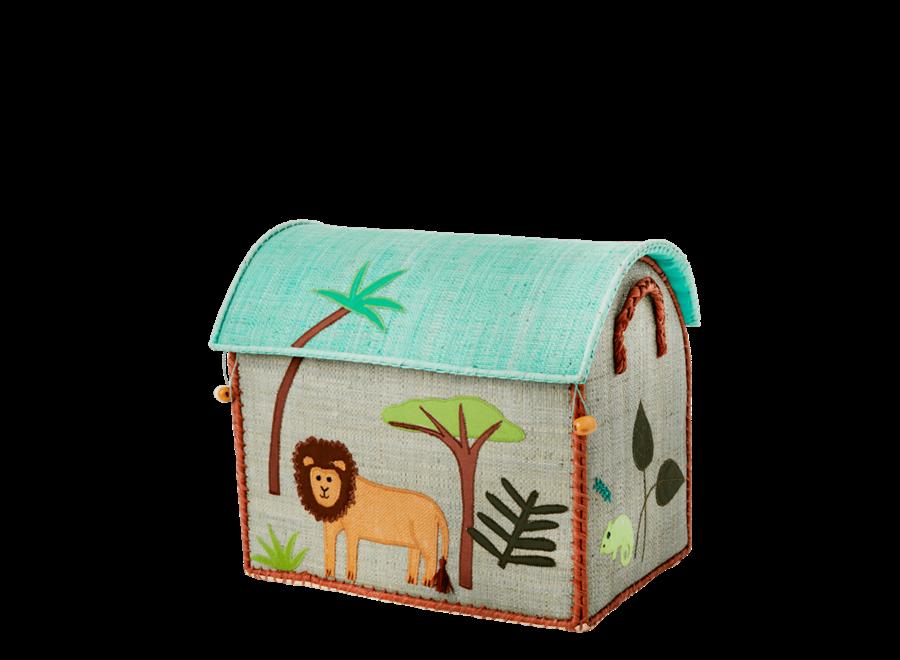 Raffia Basket Jungle Lion Small