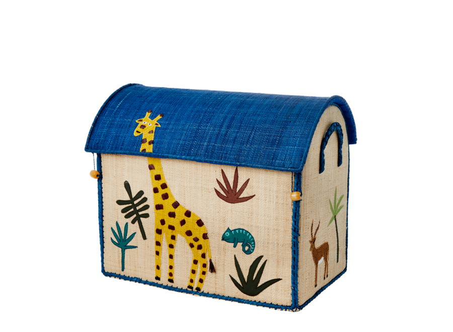 Rice Raffia Basket Jungle Giraffe Medium