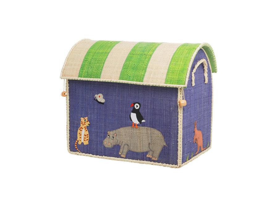 Rice Raffia Basket Animal Small