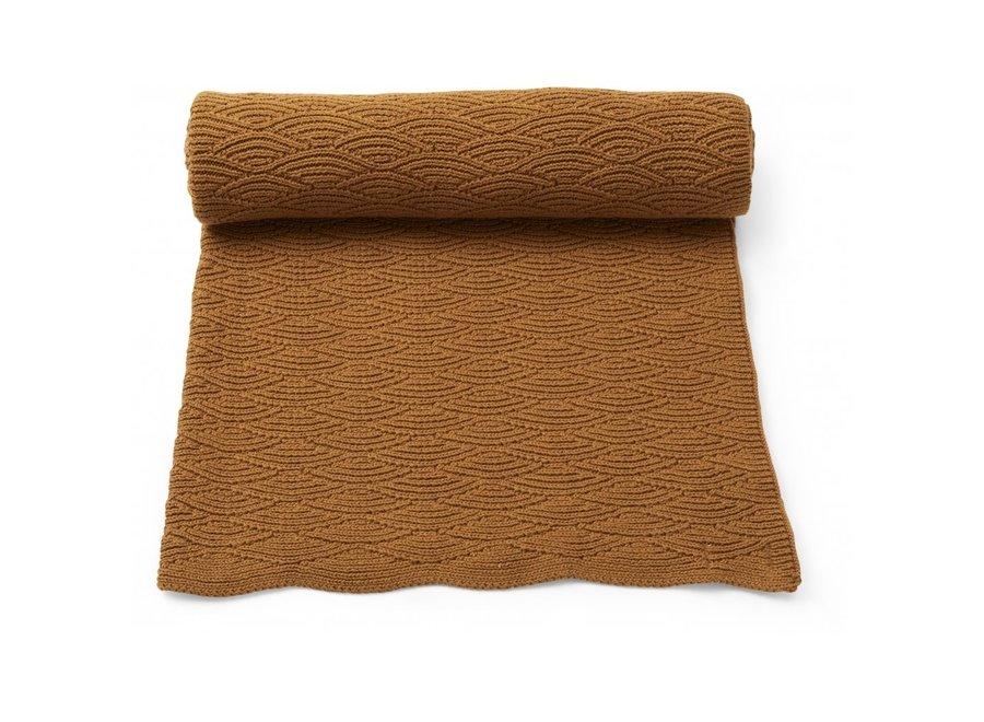 Pointelle Cotton Blanket Dijon