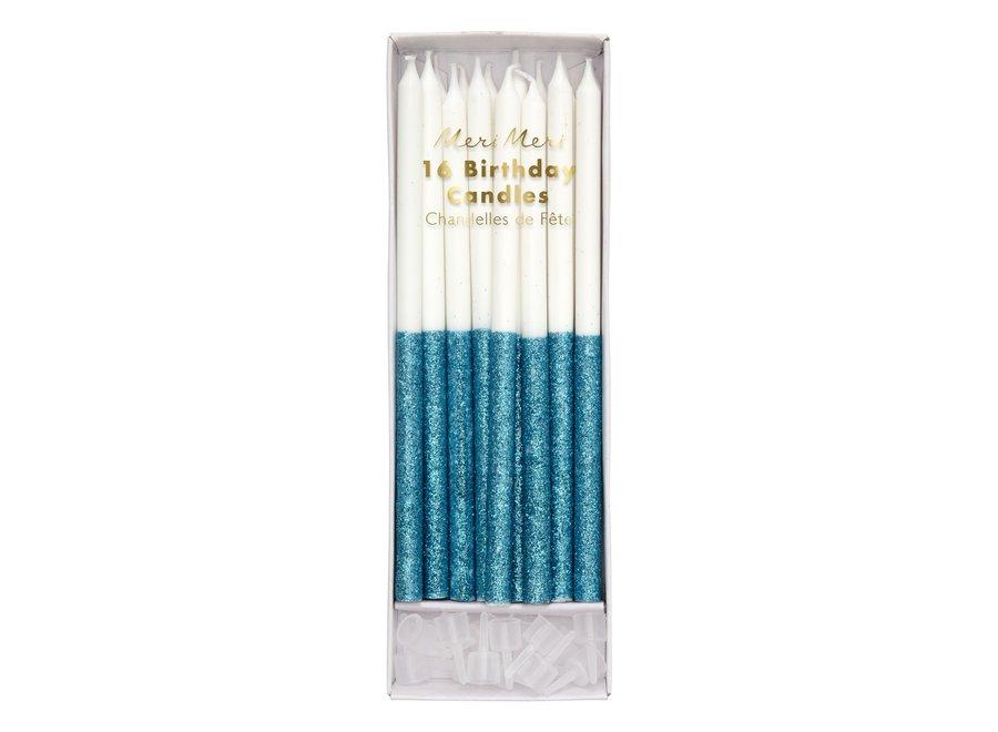 Meri Meri Blue Glitter Dipped Candles