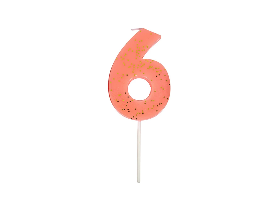 Glitter Number Candle 6