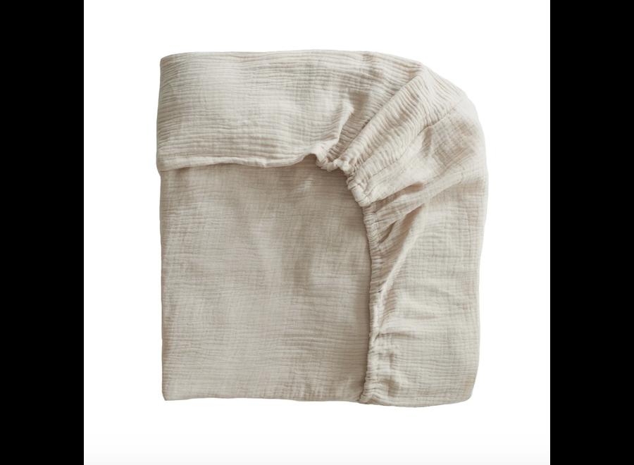 Mushie Crib Sheet Fog