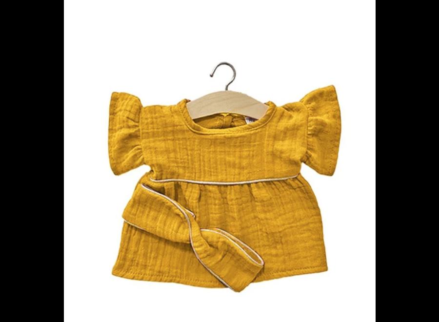 Minikane Robe Daisy Mustard Gold & Headband