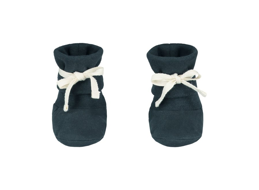 Gray Label Baby Ribbed Booties Blue Gray