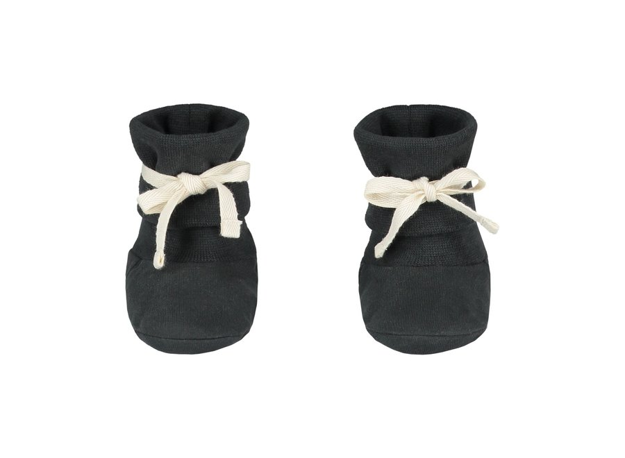 Gray Label Baby Ribbed Booties Nearly Black