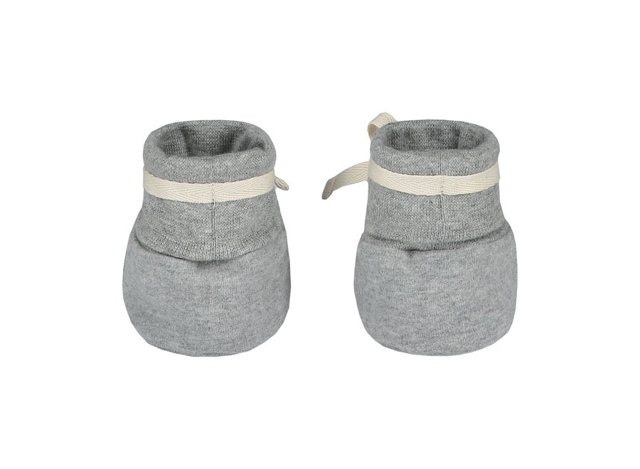 Gray Label Baby Ribbed Booties Grey Melange