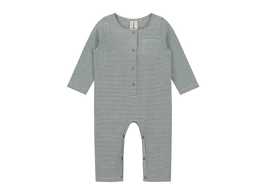 Baby L/S Playsuit Blue Grey/Cream