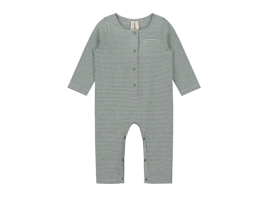 Gray Label Baby L/S Playsuit Blue Grey/Cream