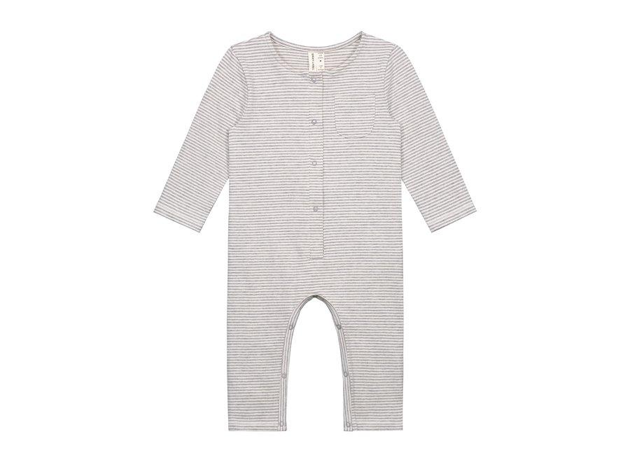 Baby LS Playsuit Grey Melange/Cream