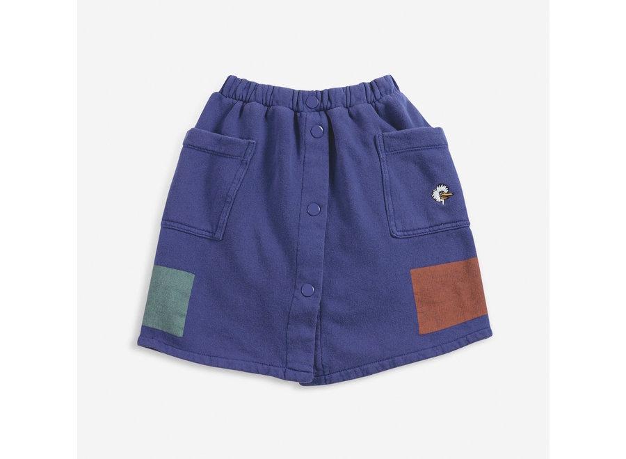 Fleece Skirt Geometric Buttoned