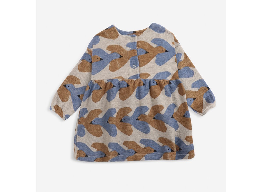 Woven Midi Dress Birds