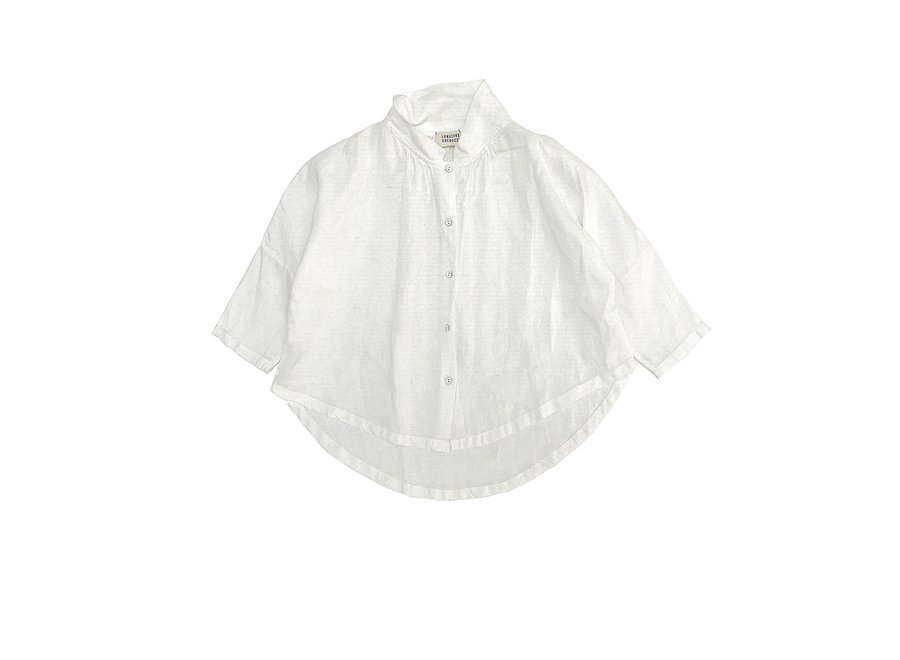 Collar Blouse White Linen