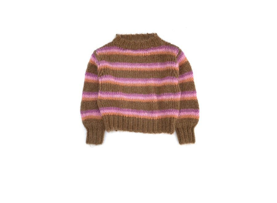 Long Live The Queen Striped Sweater Brown Stripe