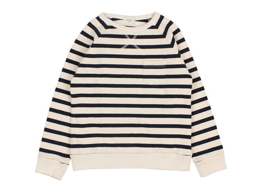 Navy Stripes Sweatshirt Ecru