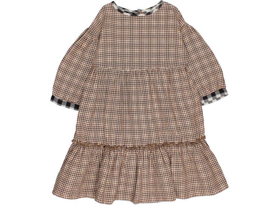 Check Folk Dress Mini Vichy
