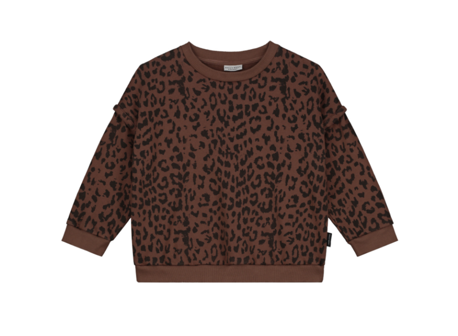 Daily Brat Oversized Leopard Sweater Hickory Brown