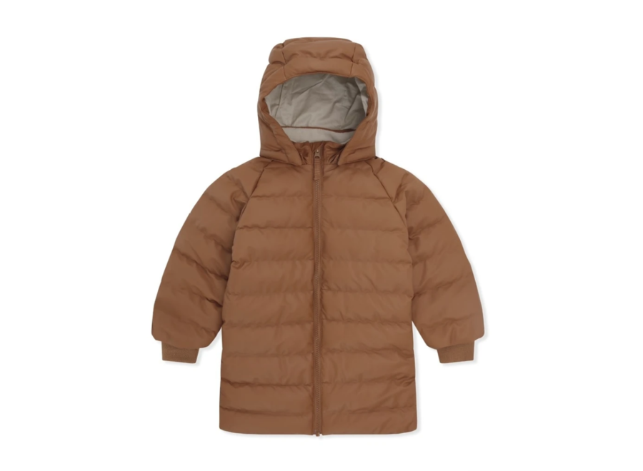 Ace Long Rain Down Jacket Leather Brown