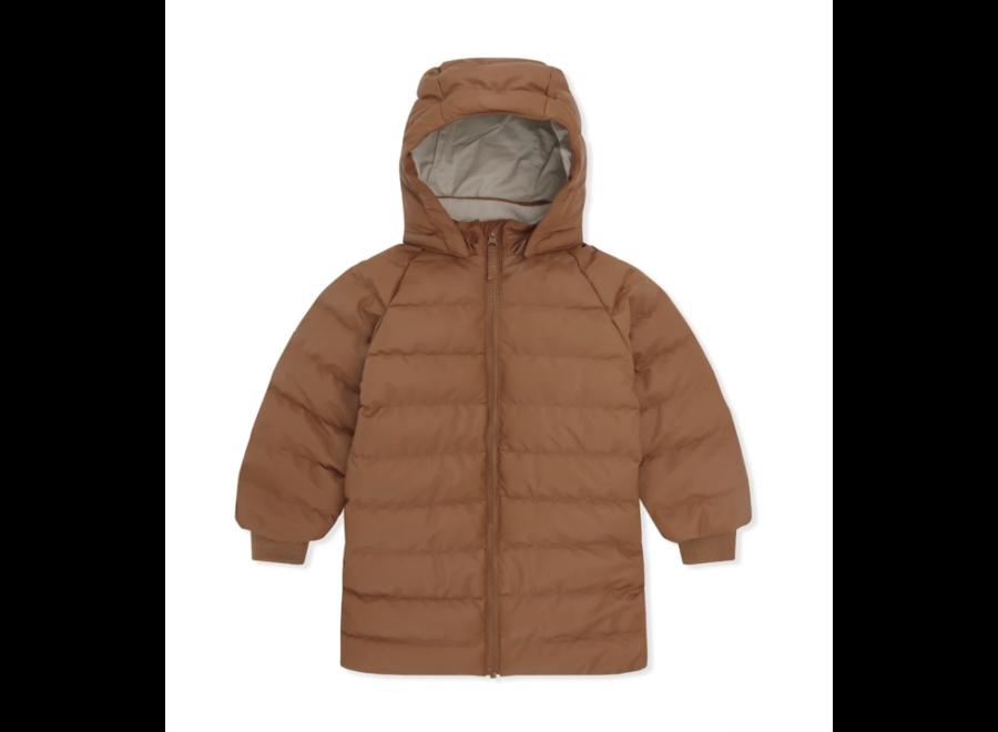 Konges Slojd Ace Long Rain Down Jacket Leather Brown