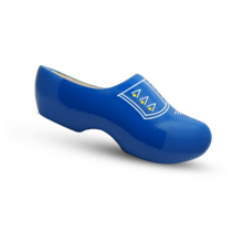 Wooden clogs with trim blue