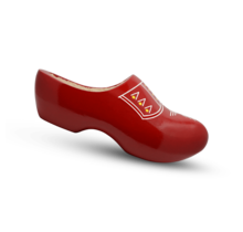Wooden clogs with trim red