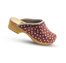 Swedish clogs red with dots