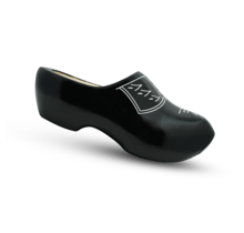 Wooden clogs with trim black