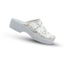 Swedish Clogs in white with flower print and PU sole