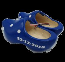 Geboorteklompjes - houten klompen blauw inclusief bedrukking