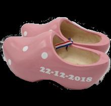 Geboorteklompjes - houten klompen roze inclusief bedrukking