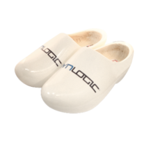 White clogs with print