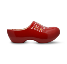 Wooden kids clogs with trim red