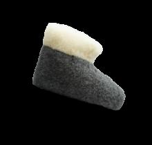 Wollen sloffen   hoog model   Zwart/wit