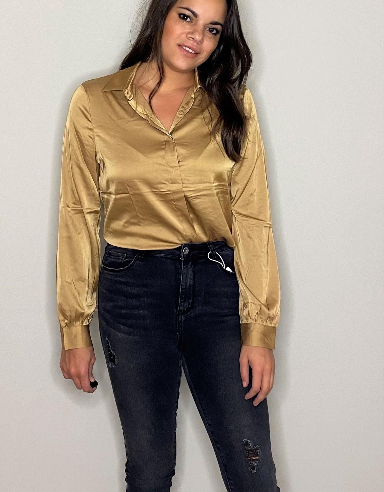 Blouse - shiny gold