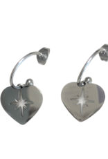 Oorbellen - silver hart
