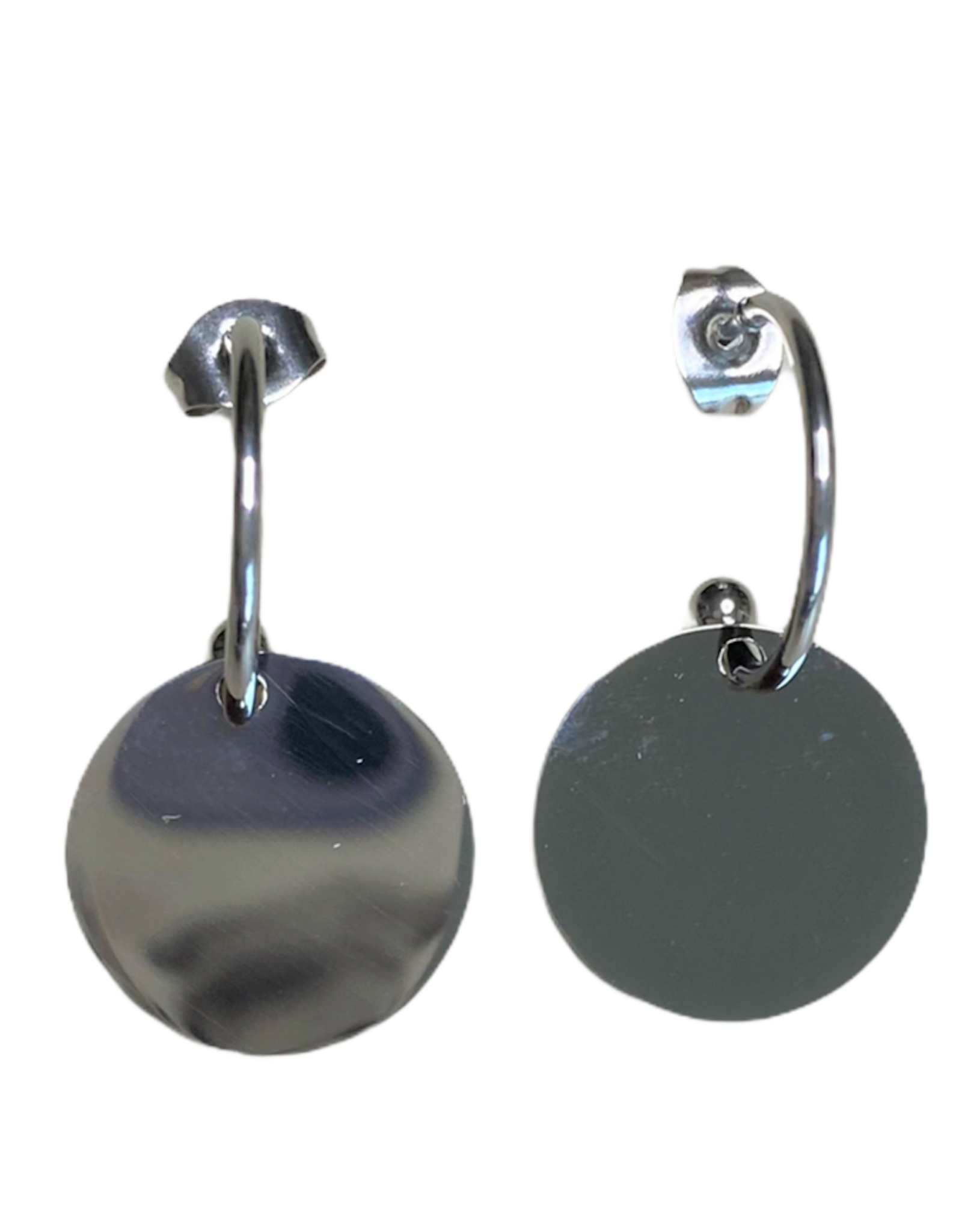 Oorbellen - silver rond