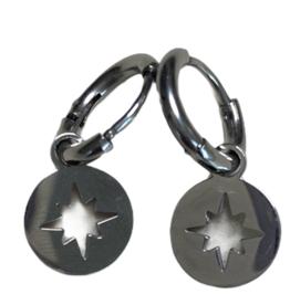 Oorbellen - silver star rond