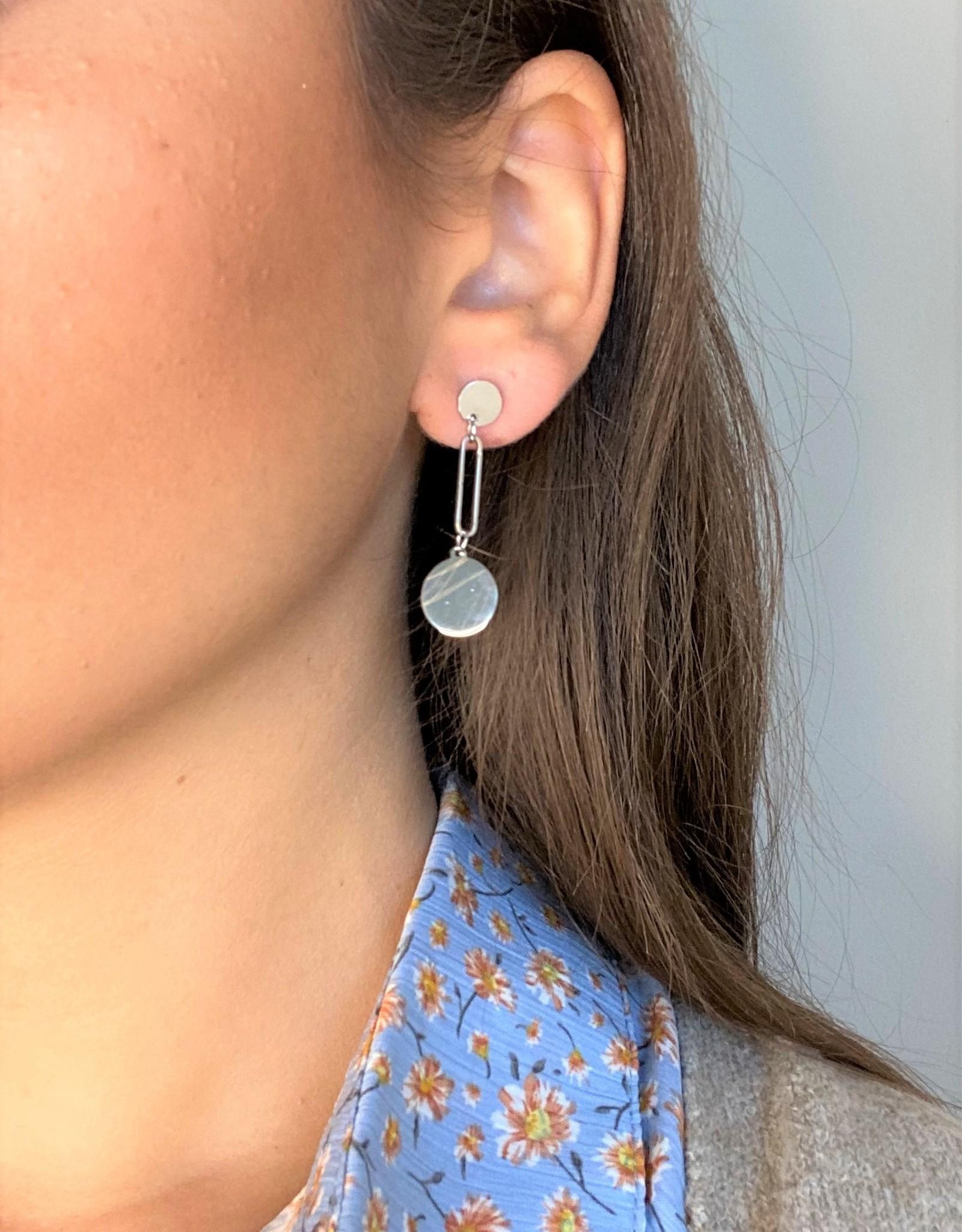 Oorbellen - silver rond lang