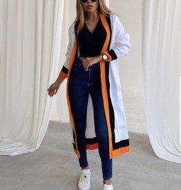 Lange vest white / orange