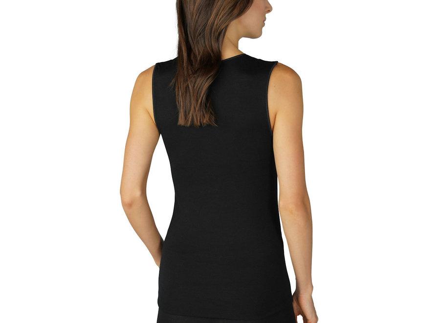 Silk Touch Wool Top Black