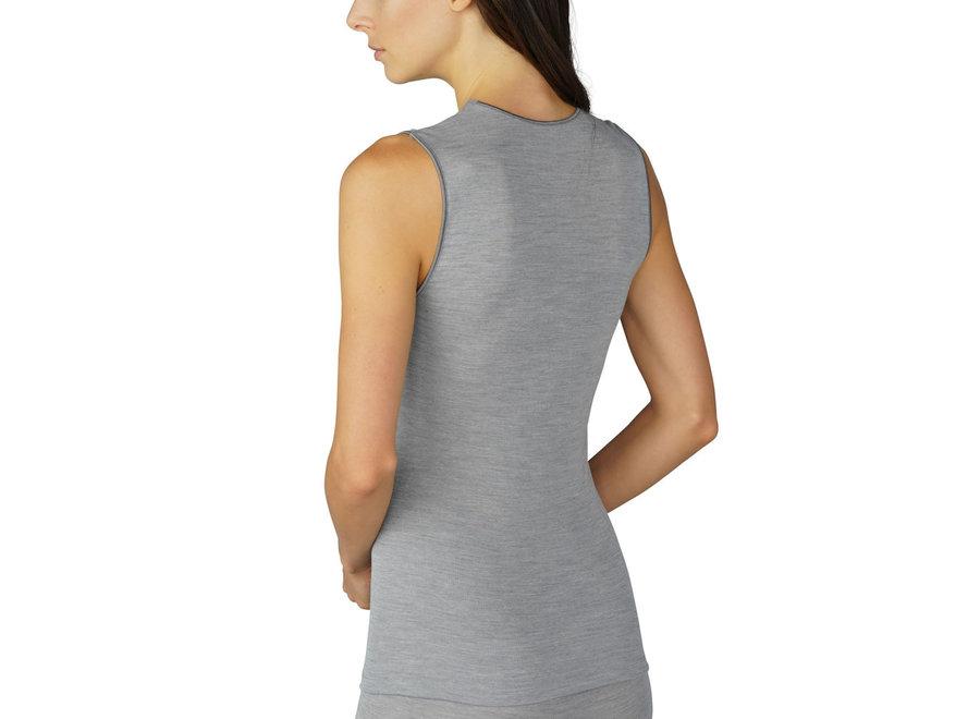 Silk Touch Wool Top Mid Grey Melange