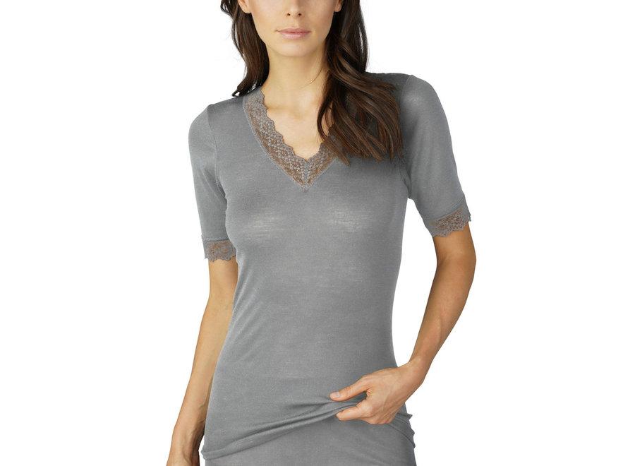 Silk Touch Wool Shirt Mid Grey Melange