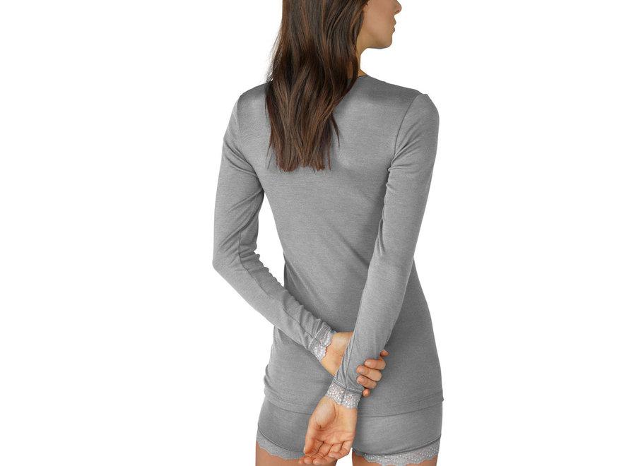 Silk Touch Wool Long Shirt Mid Grey Melange