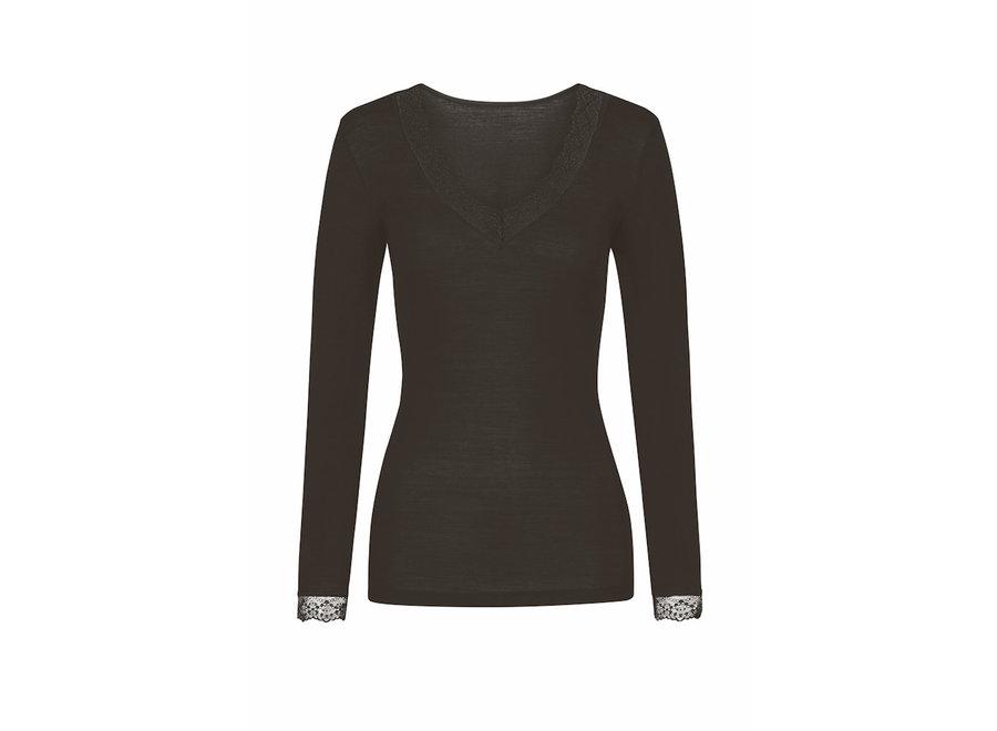 Silk Touch Wool Long Shirt Black