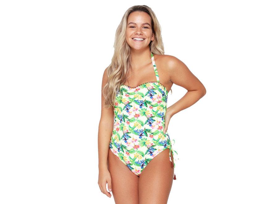 Strapless Swimsuit Flower Print