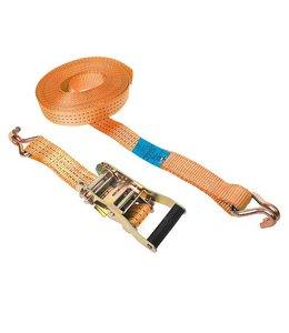 Merkloos Spanband met ratel + 2 haken 7 meter 2000 kg