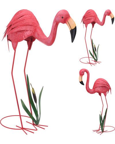 Flamingo's  metaal (set van 2 stuks)