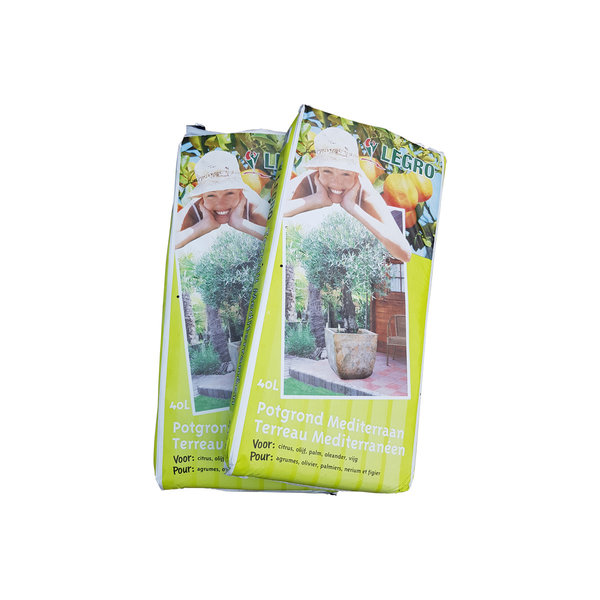 2 zakken potgrond mediterraan (zak 40 liter)