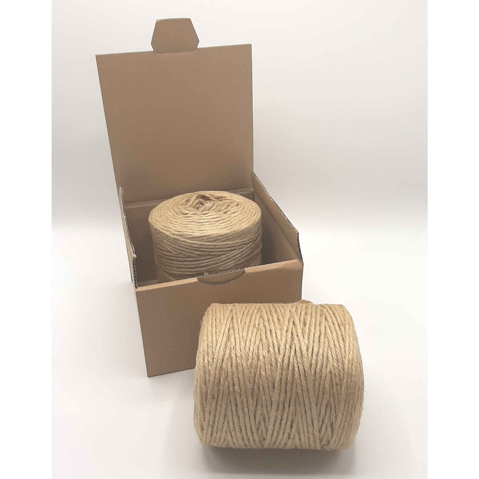 HollandWool Jute touw 500 gr. = 200 m. - kleur naturel - 2.5 mm. dik