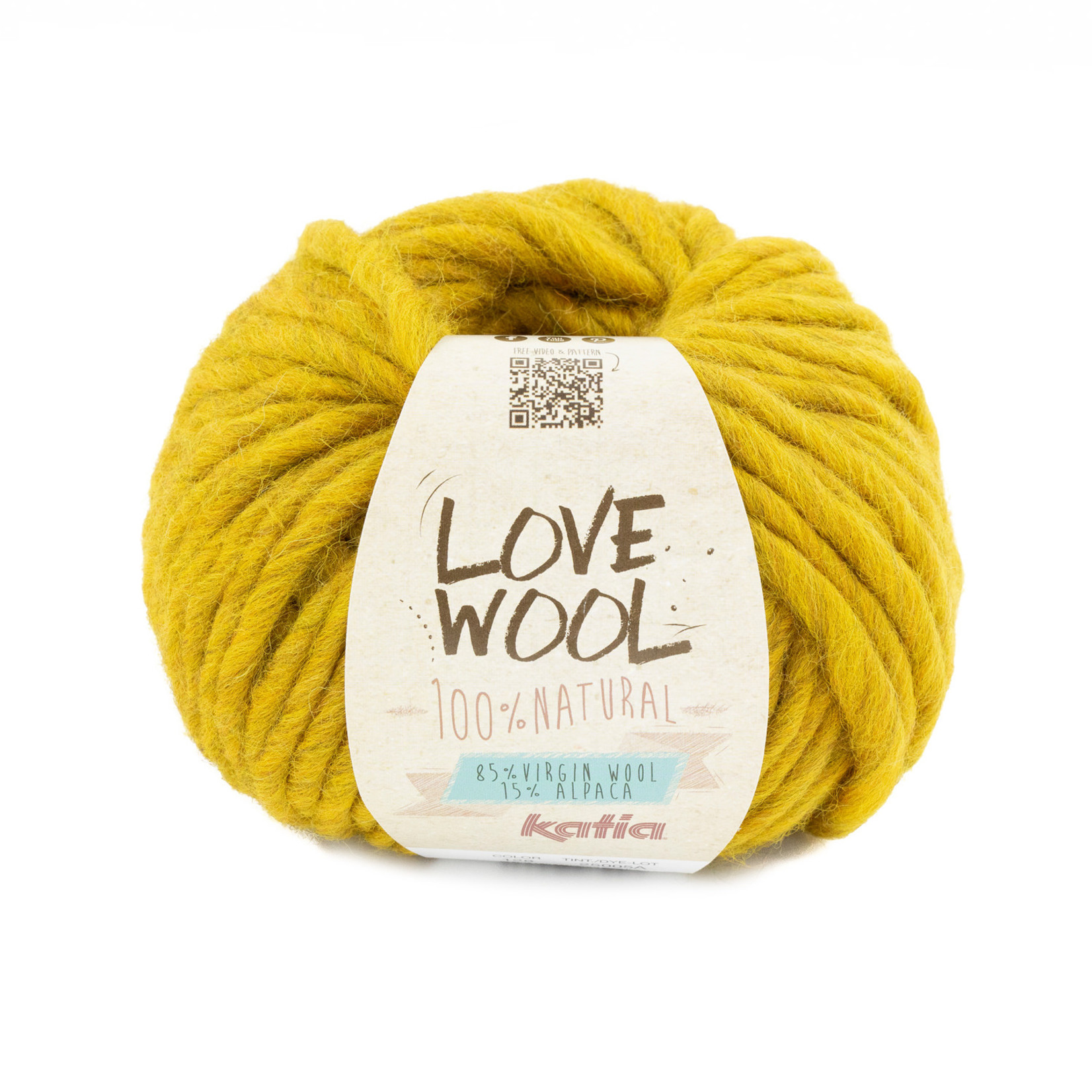 Katia Katia - Love Wool - kleur 128 - Mosterdgeel - 100 gr. = 50 m.